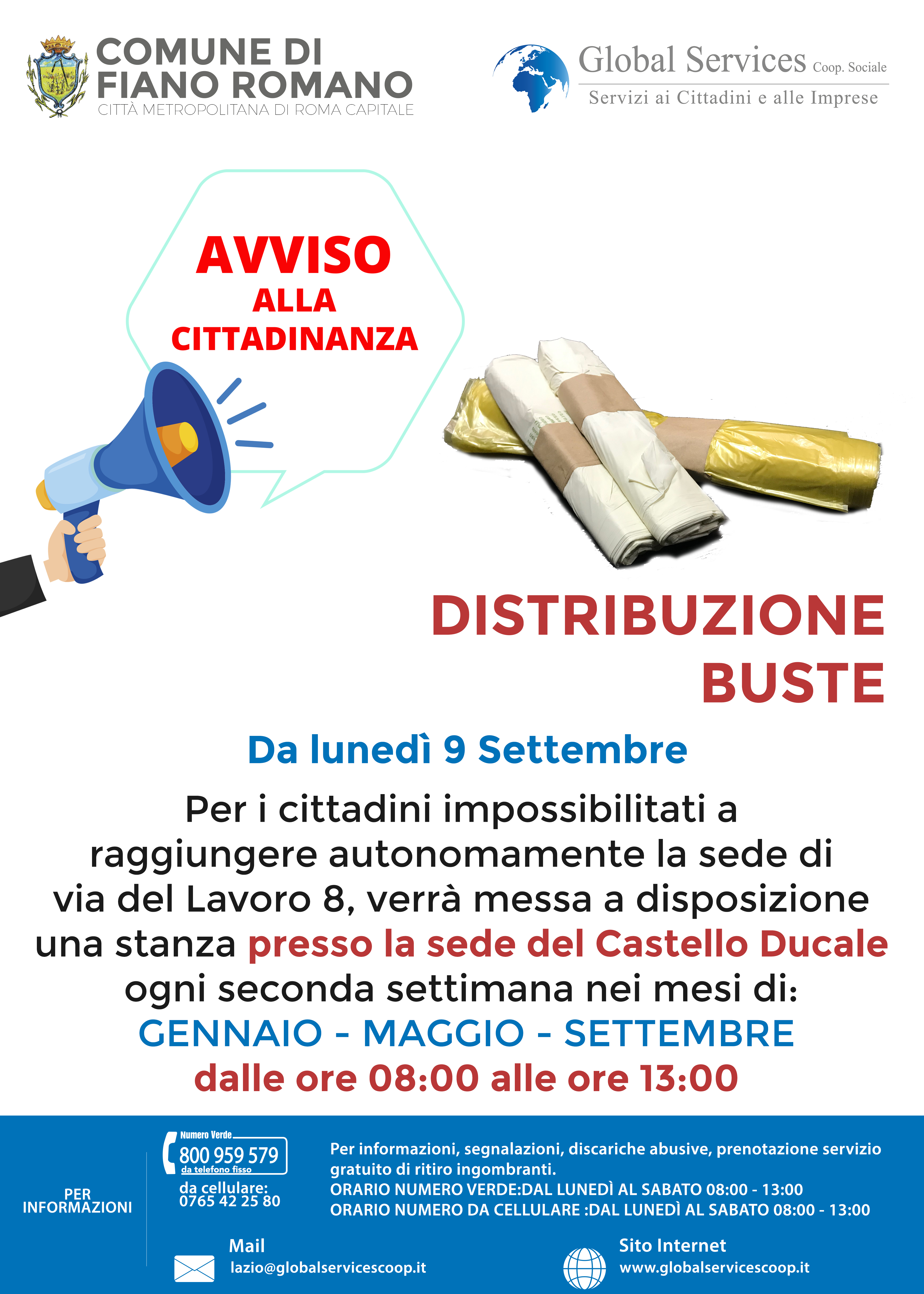 Fiano Romano: distribuzione buste